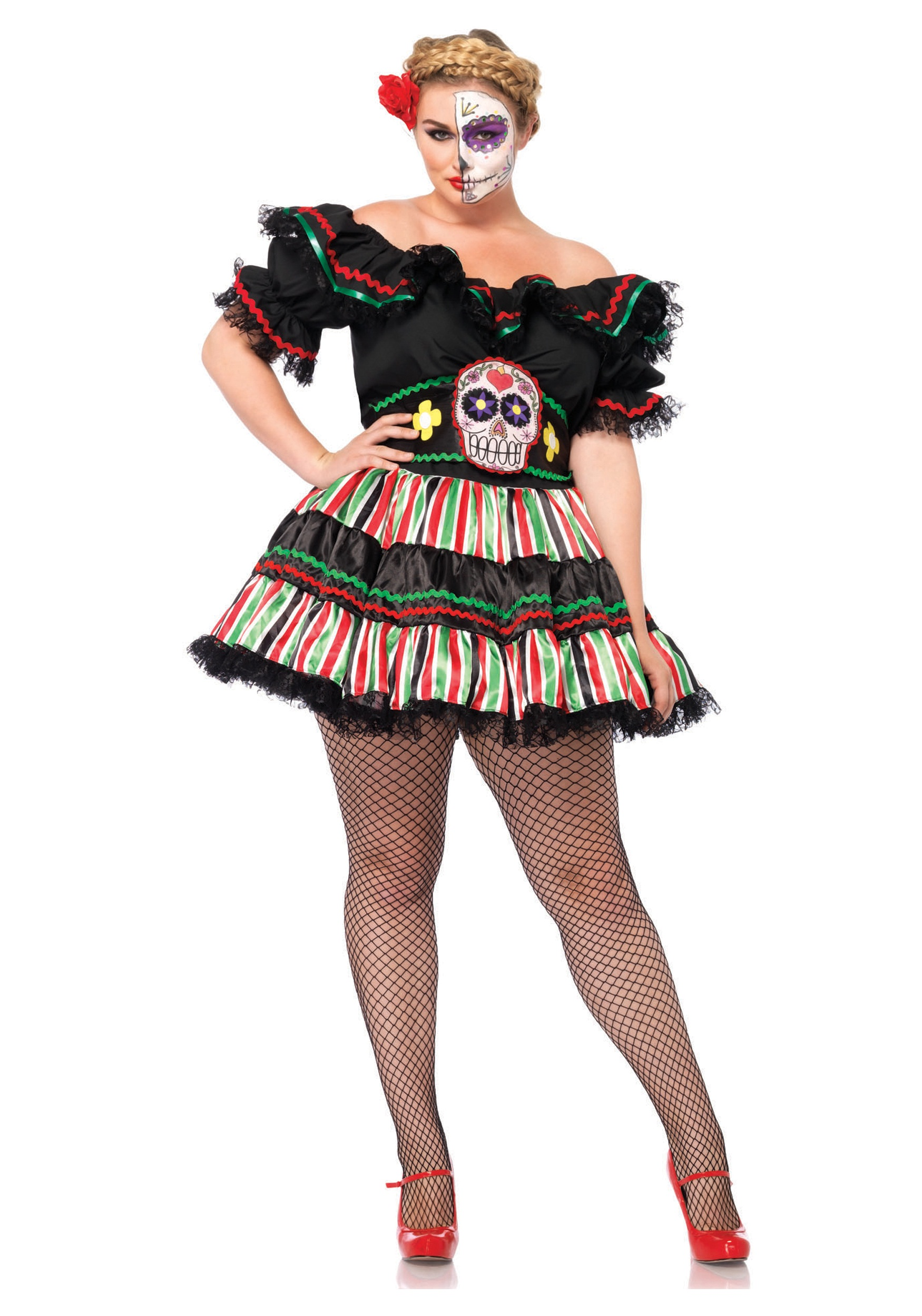 day of the dead doll plus size costume 1x/2x 3x/4x