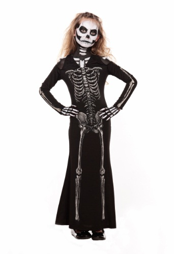 Image of Girl's Skeleton Sweetie Maxi Dress Costume