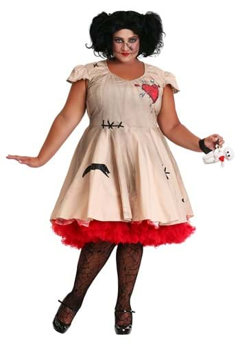 Image of Womens Plus Size Voodoo Doll Costume