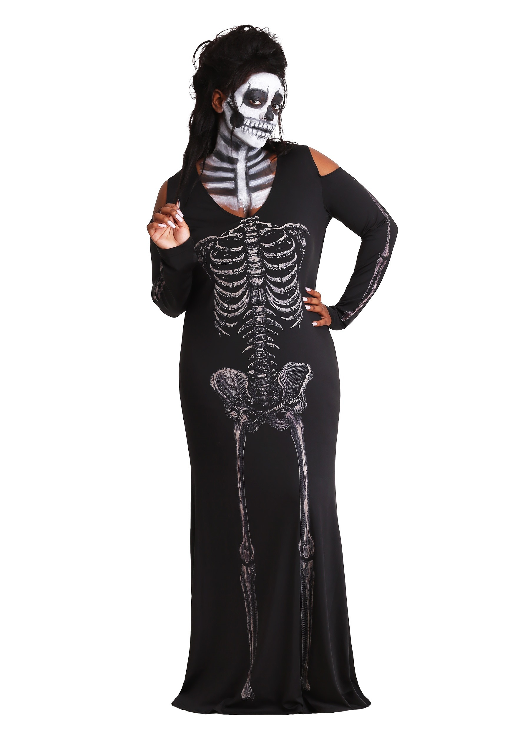 Women's Plus Size Bone Appetit Skeleton Long Dress