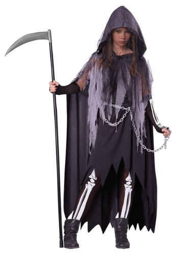 Click Here to buy Tween Miss Reaper Girls Costume from HalloweenCostumes, CDN Funds