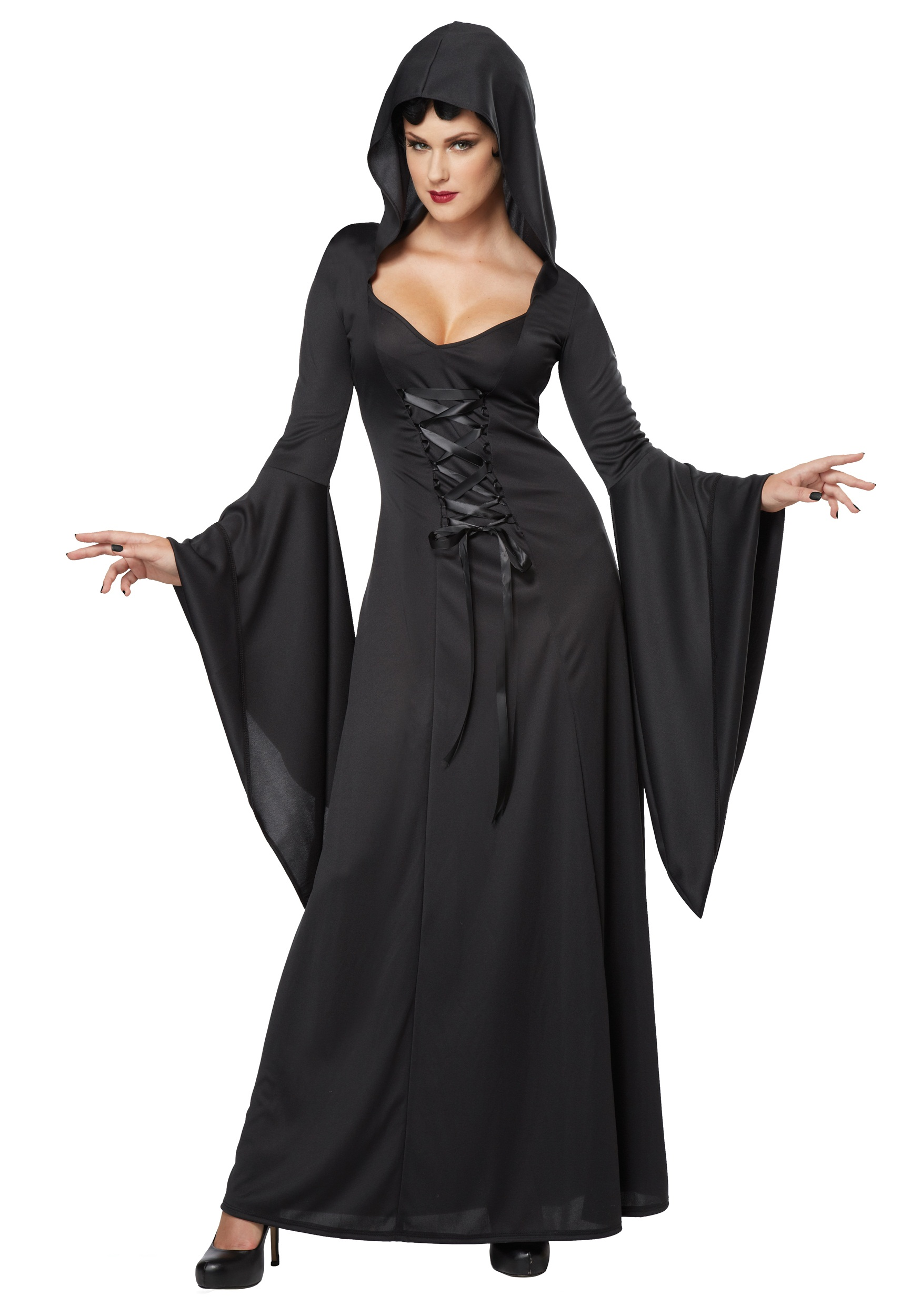 Women's Hooded Black Lace Up Robe