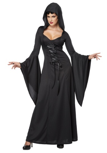 Womens Hooded Black Lace Up Robe