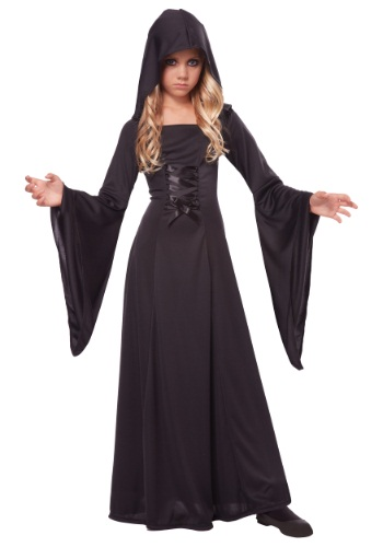 Girl's Deluxe Black Hooded Robe