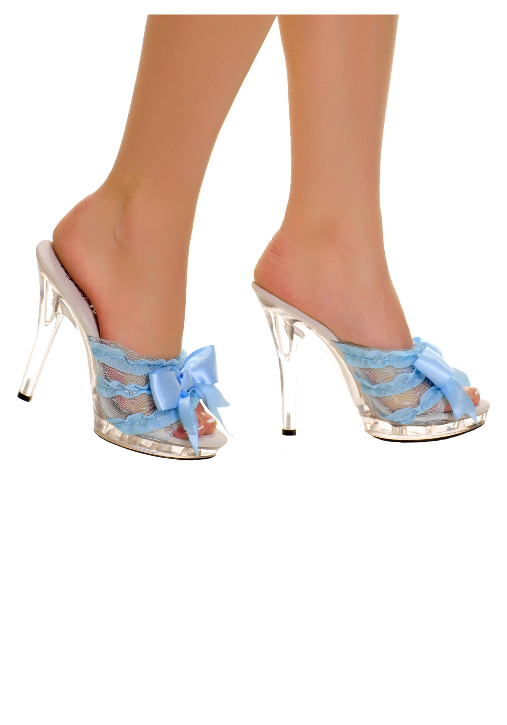 Clear Slip Peep Toe Heels Blue Ribbon