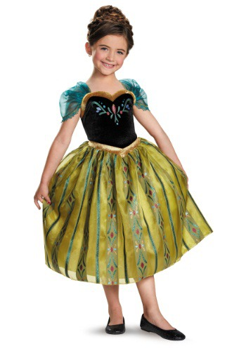 Click Here to buy Girls Frozen Deluxe Anna Coronation Costume Gown from HalloweenCostumes, CDN Funds