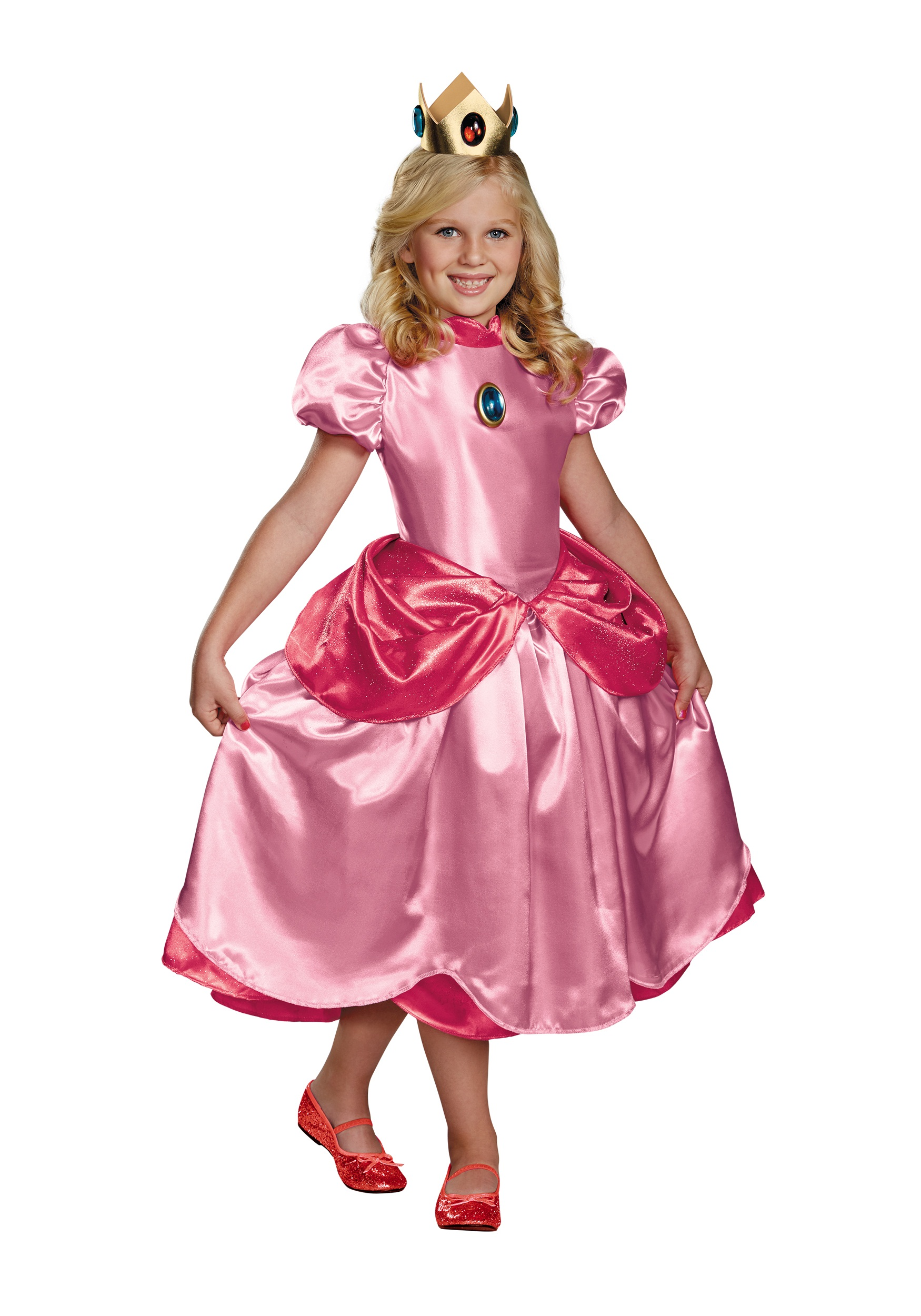girls deluxe princess peach costume. Black Bedroom Furniture Sets. Home Design Ideas