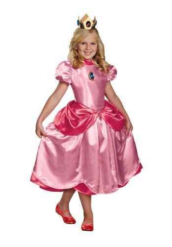 Click Here to buy Girls Deluxe Princess Peach Costume from HalloweenCostumes, CDN Funds
