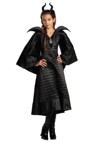 Click Here to buy Girls Deluxe Black Maleficent Christening Gown Costume from HalloweenCostumes, CDN Funds
