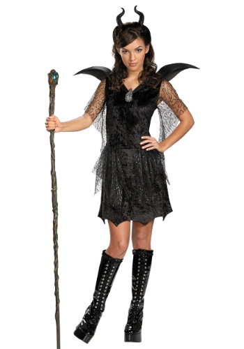 Click Here to buy Tween Black Maleficent Gown Costume from HalloweenCostumes, CDN Funds