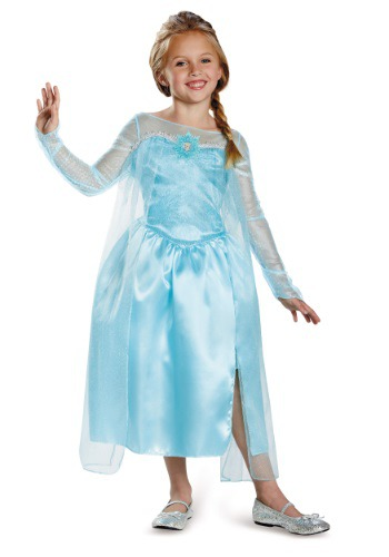 Click Here to buy Girls Frozen Classic Elsa Snow Queen Costume Gown from HalloweenCostumes, CDN Funds