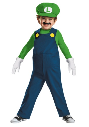 Click Here to buy Toddler Luigi Costume from HalloweenCostumes, USA Funds & Shipping