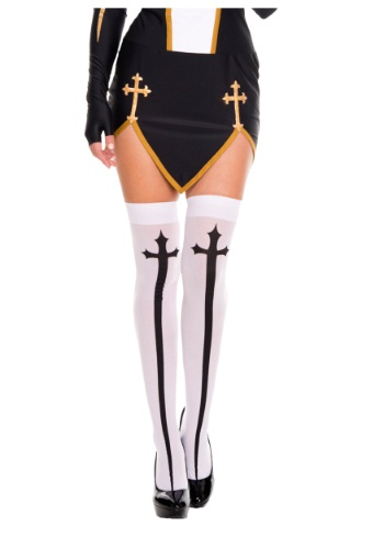 Gothic Cross Thigh High Stockings By: Music Legs for the 2015 Costume season.