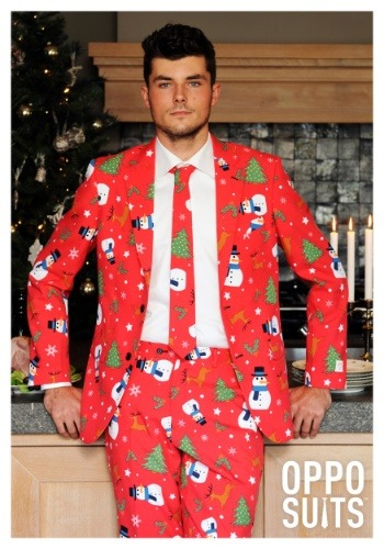 Mens OppoSuits Red Christmas Costume Suit