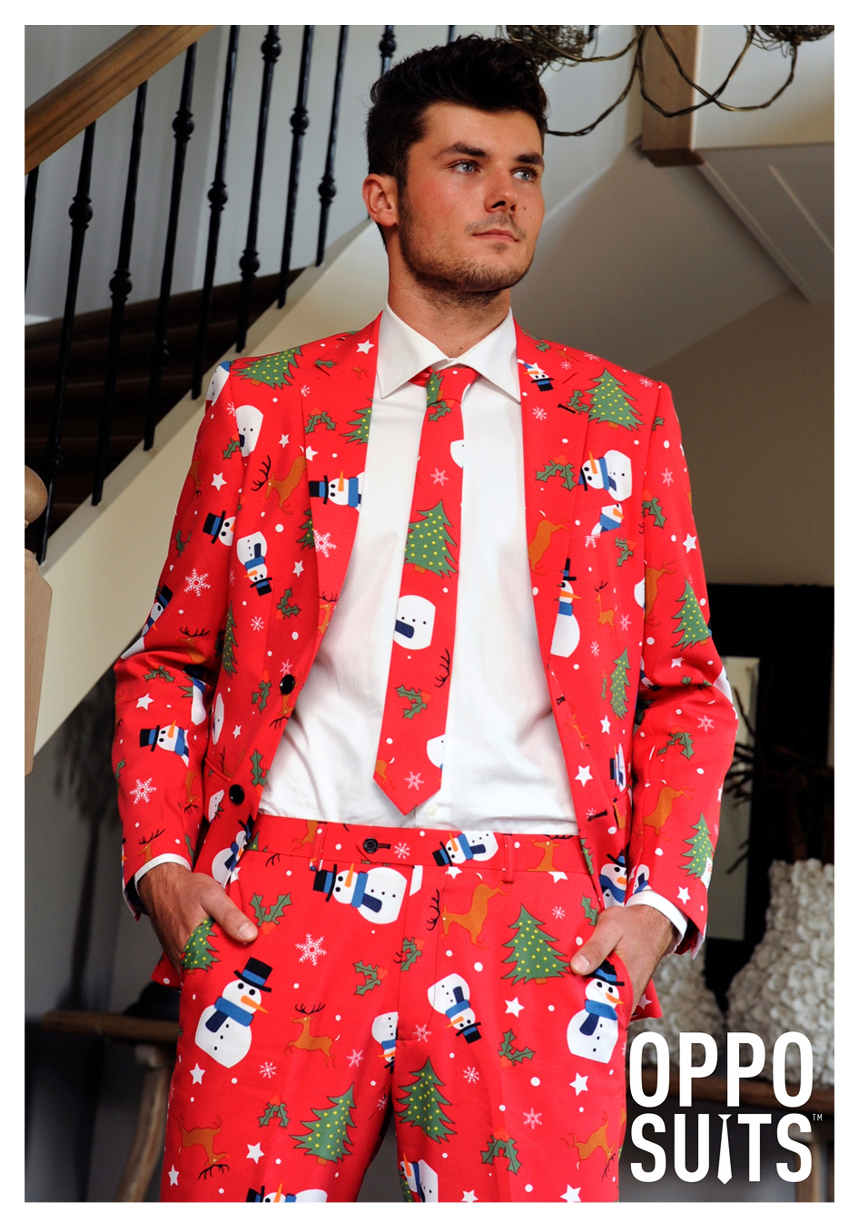 Men 39 s opposuits red christmas suit for What to buy men for xmas