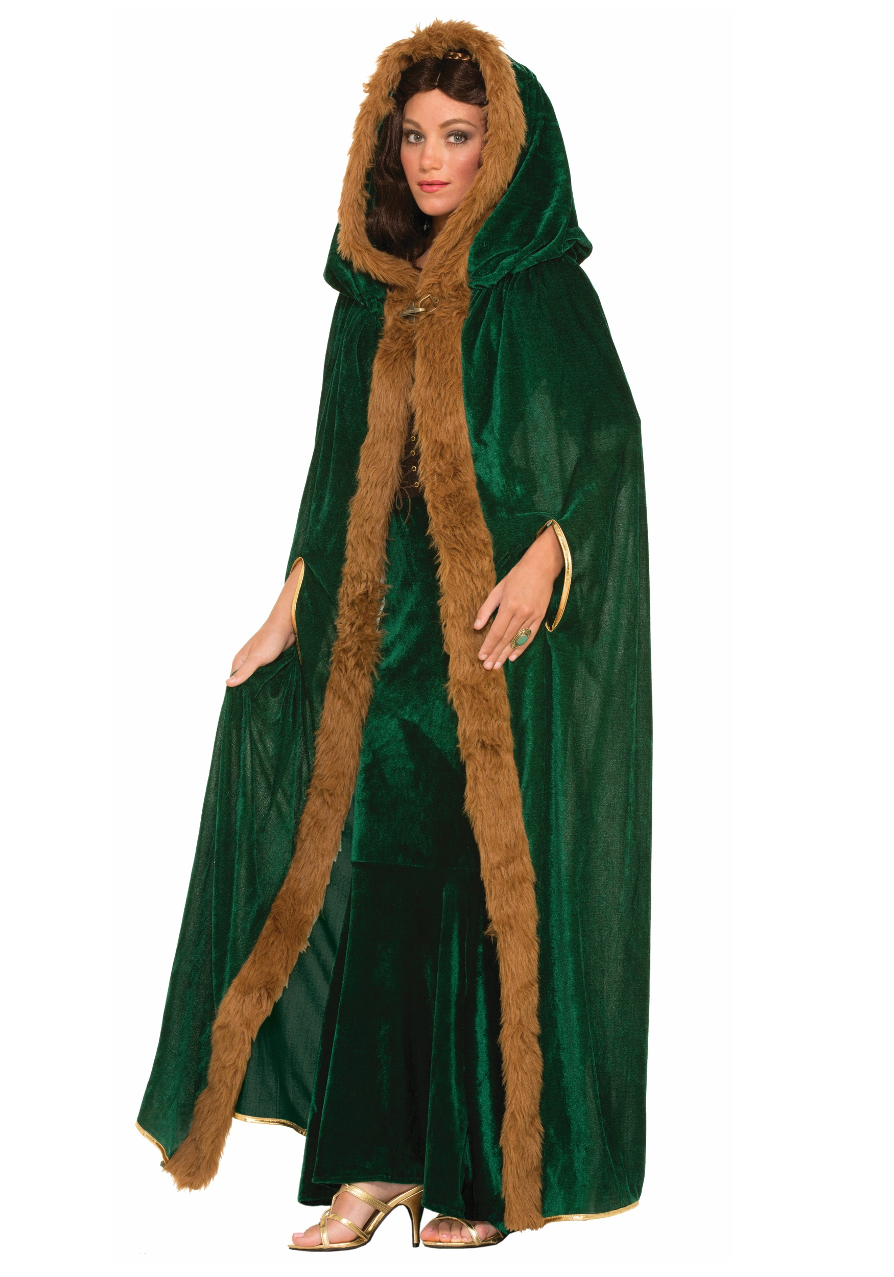 FAUX FUR TRIMMED GREEN CAPE cloak