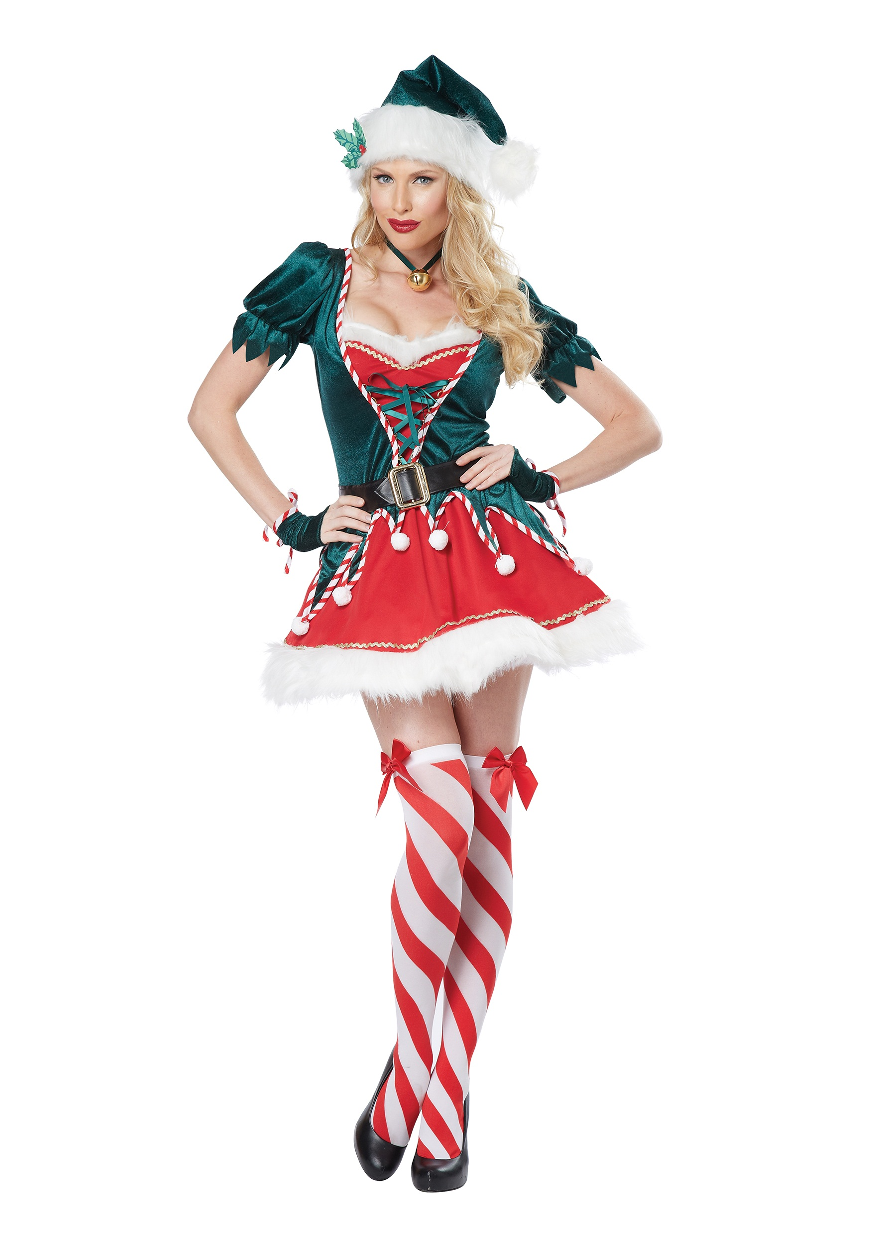 Elf Costume Adult Ladies Womens Little Helper Christmas Xmas Fancy Dress Outfit