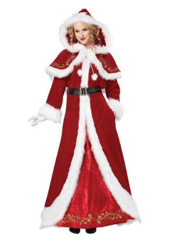 Click Here to buy Deluxe Classic Mrs. Claus Costume from HalloweenCostumes, CDN Funds