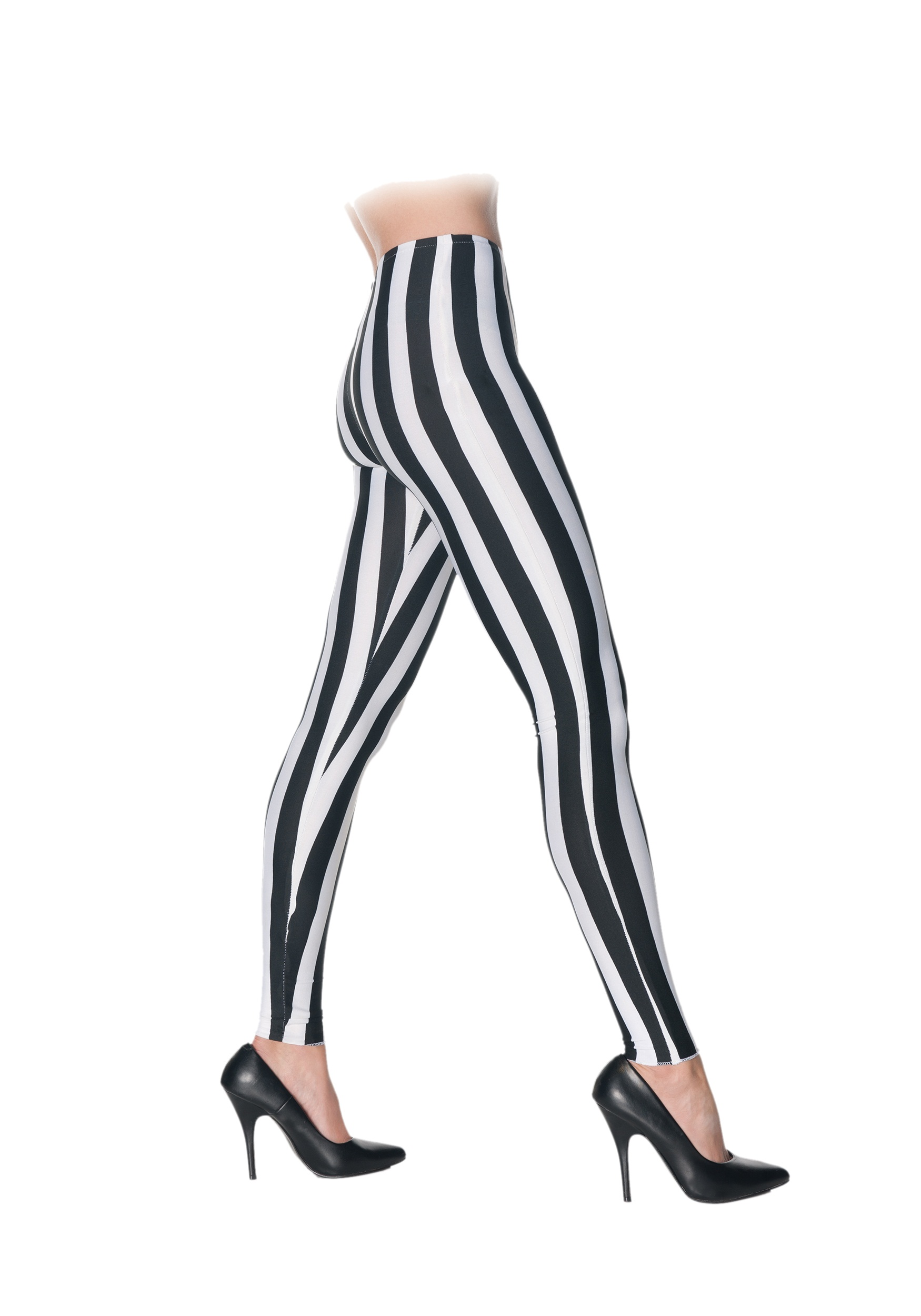White And Black Striped Leggings
