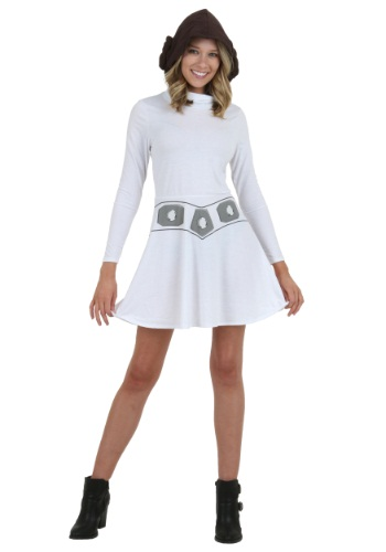 Click Here to buy I Am Leia Womens Hooded Skater Dress from HalloweenCostumes, CDN Funds