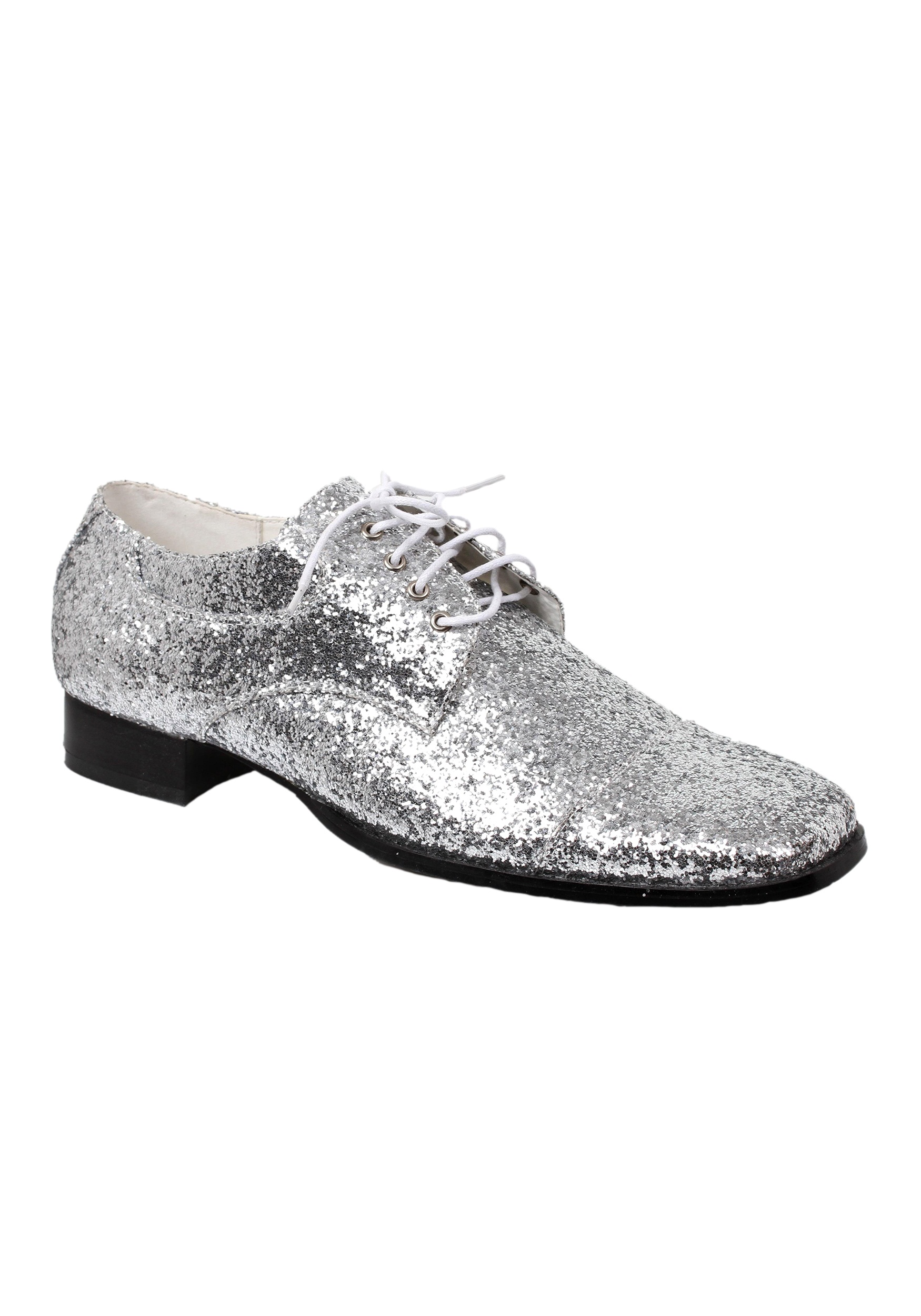 Womens S Silver Glitter Disco Shoes
