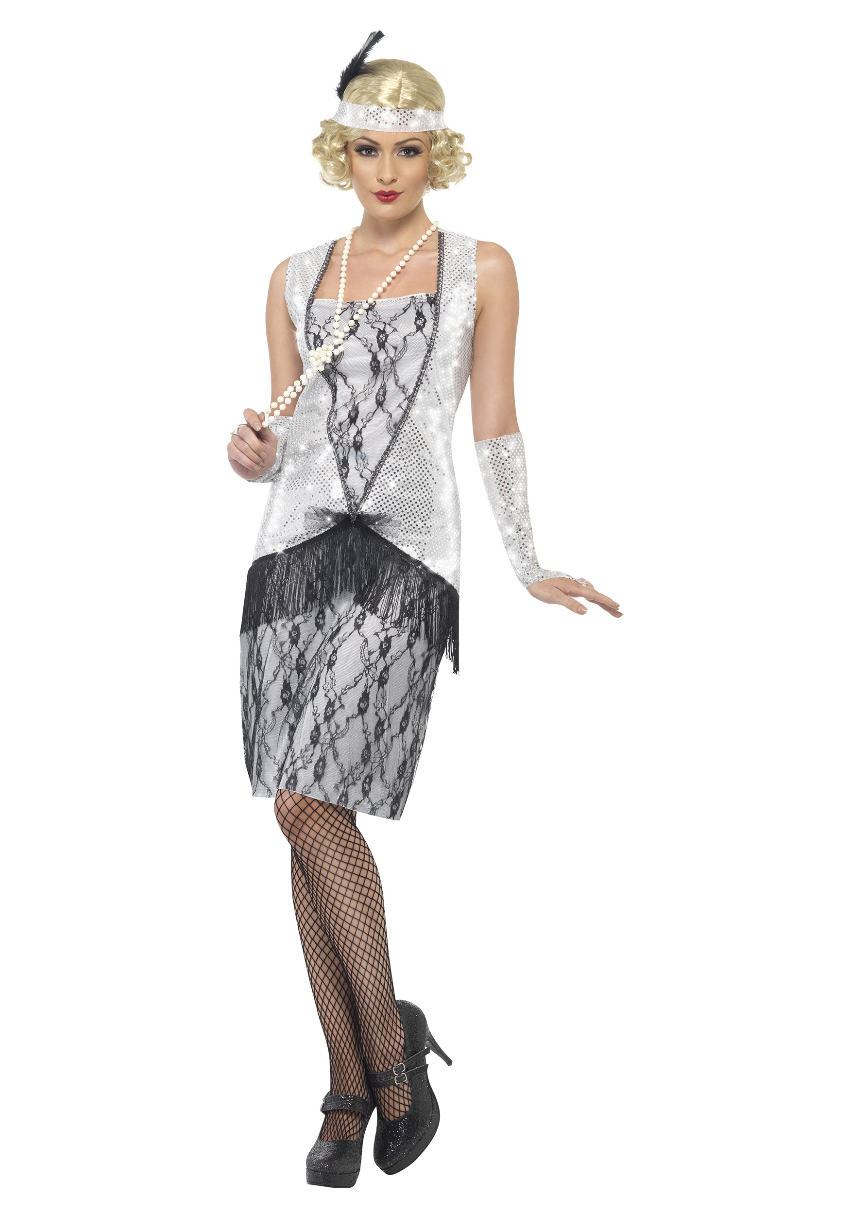Women\'s 1920s Silver Flapper Costume