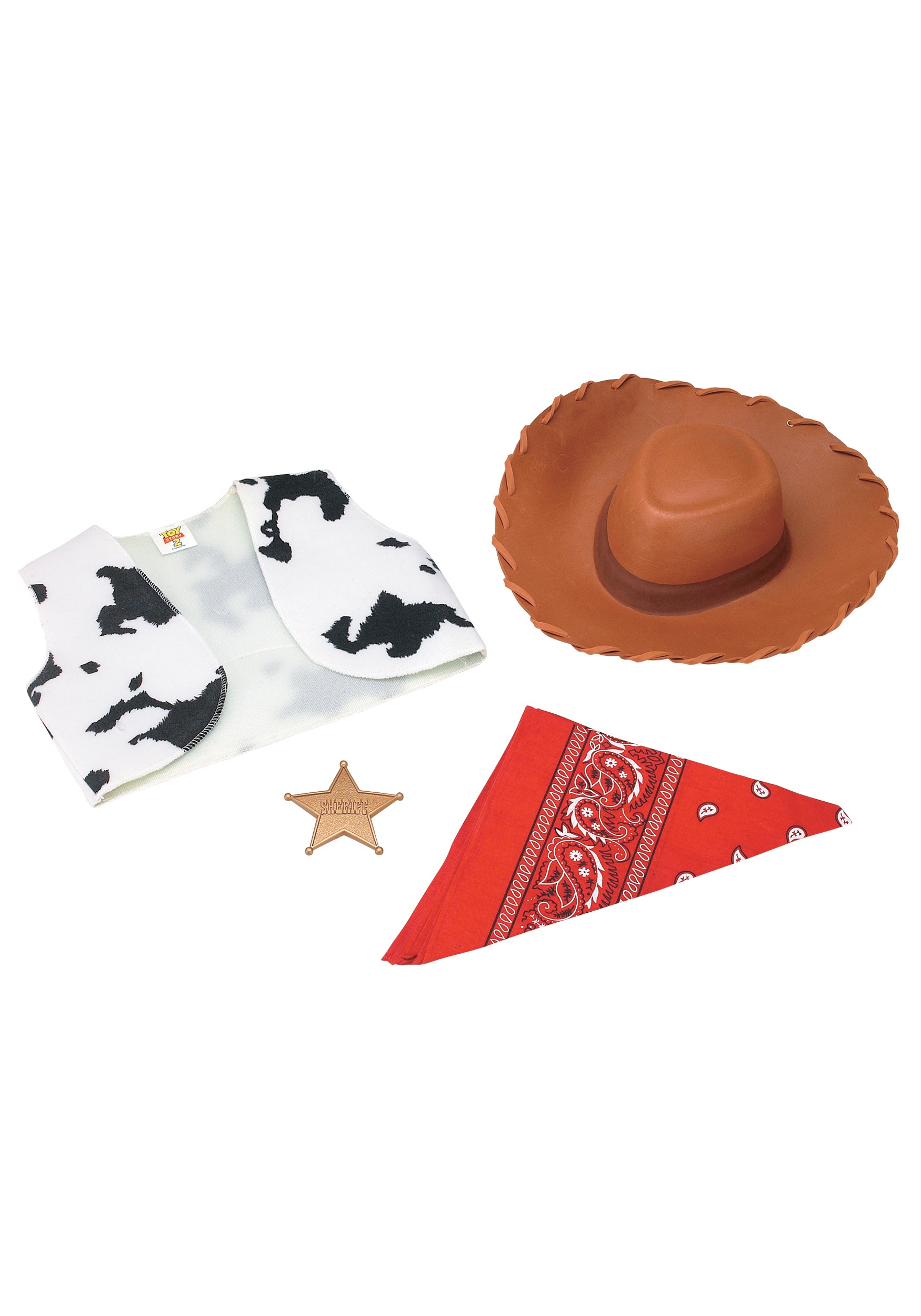 Become the sheriff of Andy's toys with this Toy Story Woody costume kit!