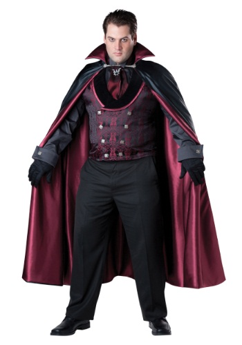 Men's Plus Size Midnight Vampire Costume