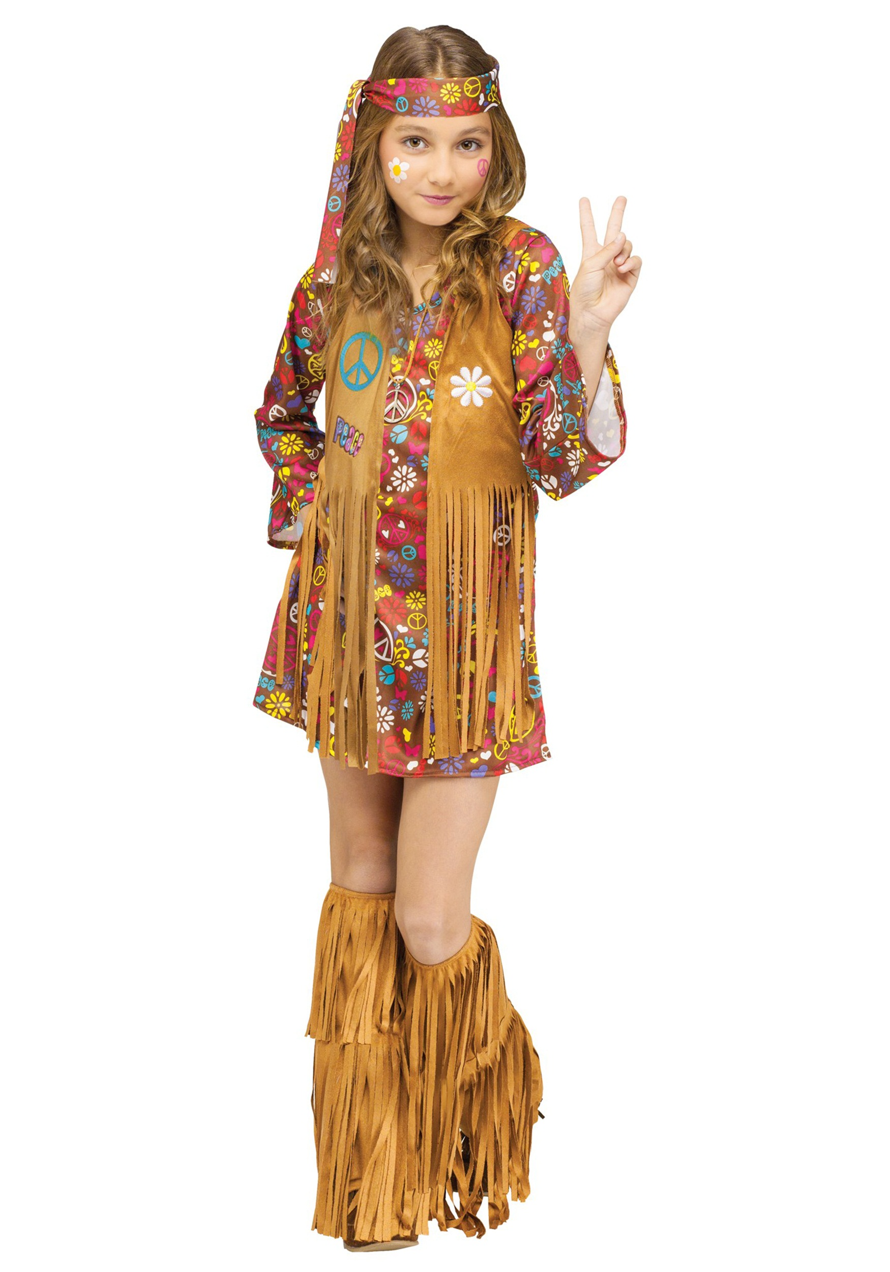 Halloween Outfits For Kids.Child Peace Love Hippie Costume