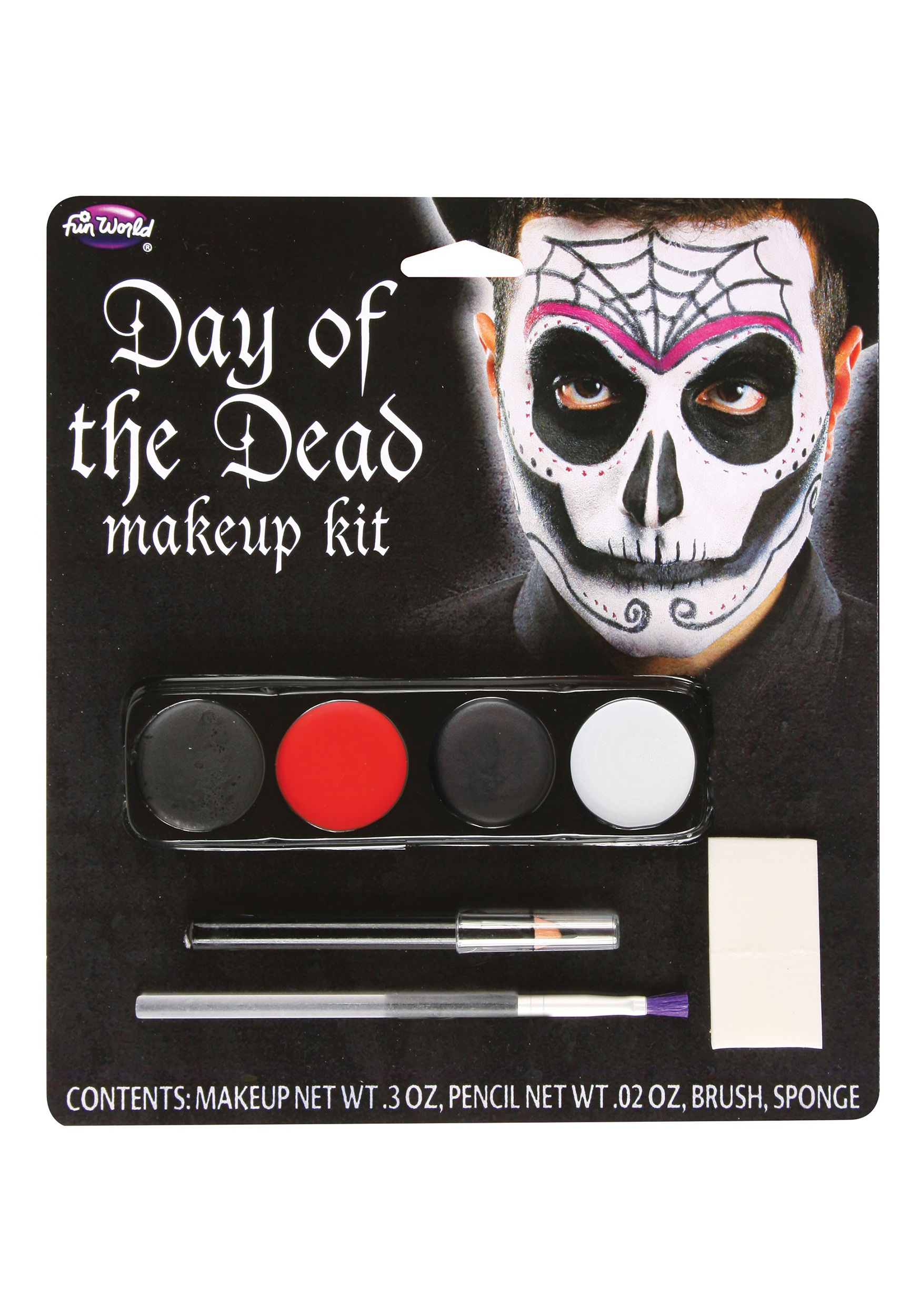 Fun World Day Of The Dead Male Makeup Kit - How-to-do-day-of-the-dead-makeup