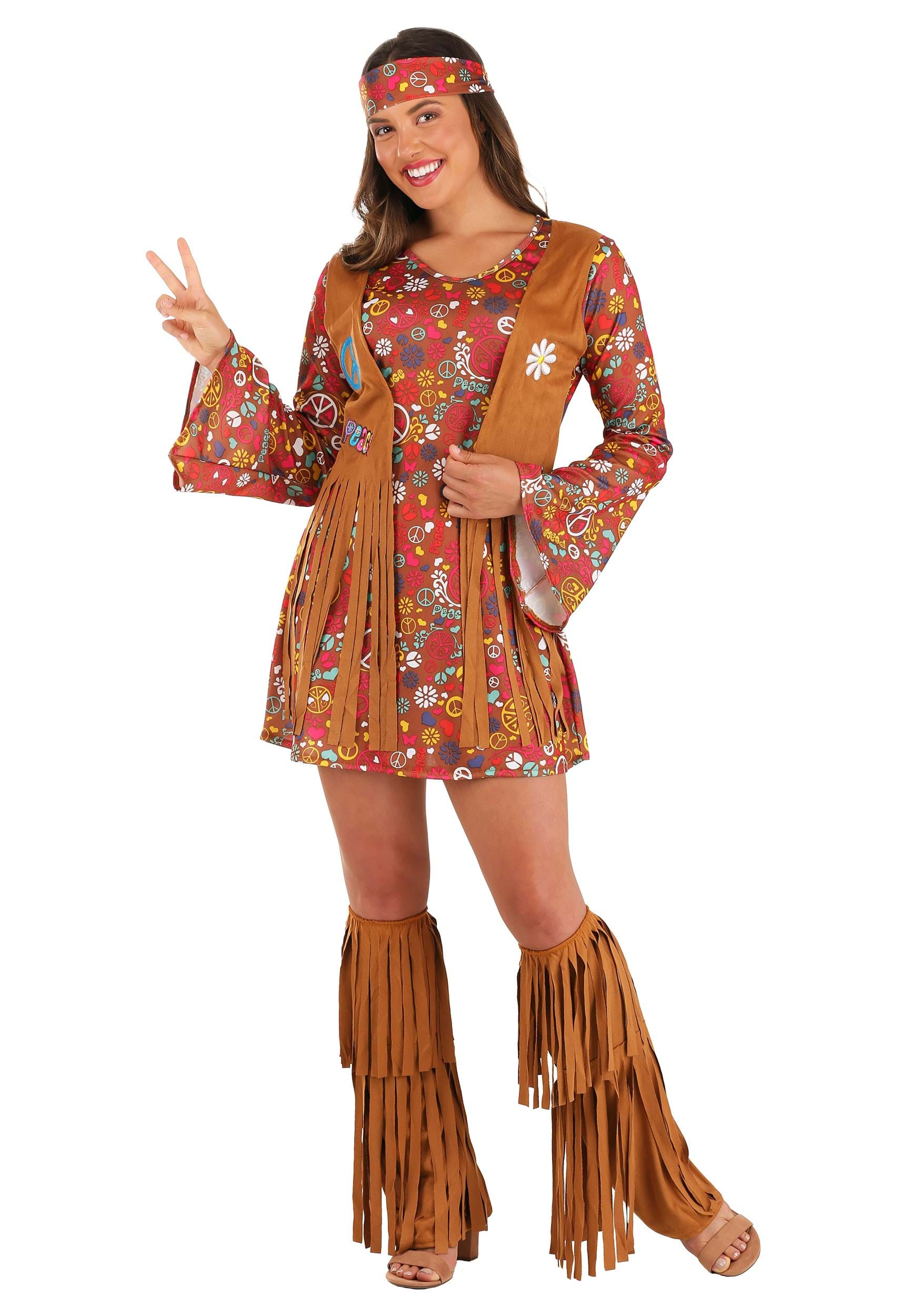 Peace u0026 Love Hippie Adult Costume  sc 1 st  Halloween Costumes & Hippie Costumes u0026 Outfits for Adults u0026 Kids