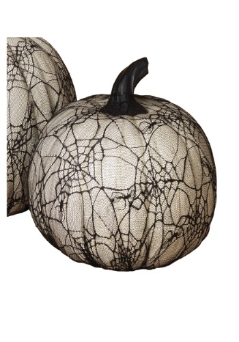 Cheap 11.4 Inch White Resin Halloween Pumpkin with Spider Web Lace On Sale