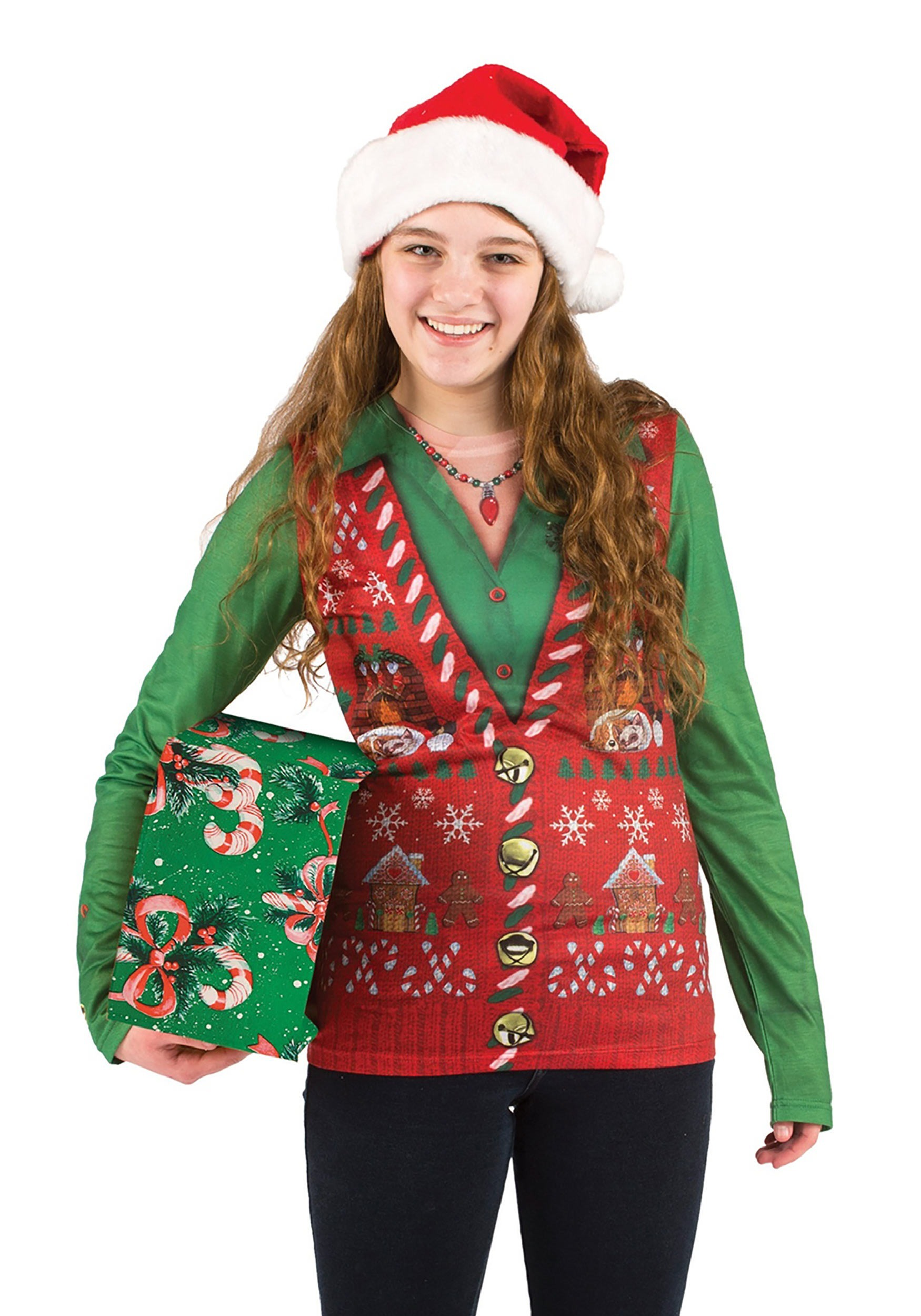 Women's Ugly Christmas Sweater Vest Shirt