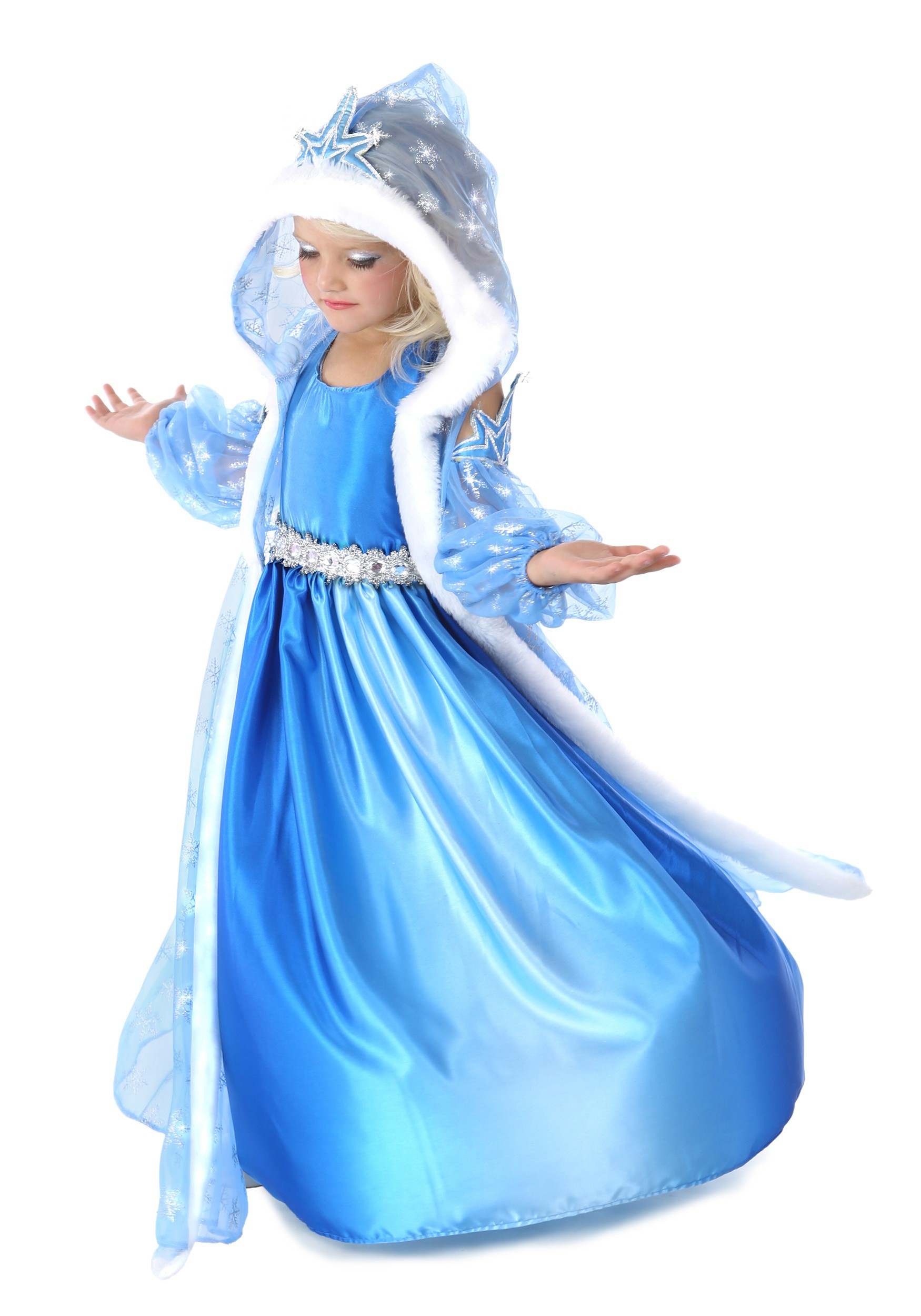 CHILD ICELYN THE WINTER PRINCESS COSTUME snow ice princess girls kids Halloween dress up includes Dress Hooded Jacket Pair of Arm Warmers