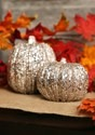4.5 Inch Short Champagne Glitter Pumpkin Decoration