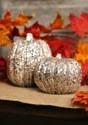 5 Inch Skinny Champagne Glitter Pumpkin Halloween Decoration