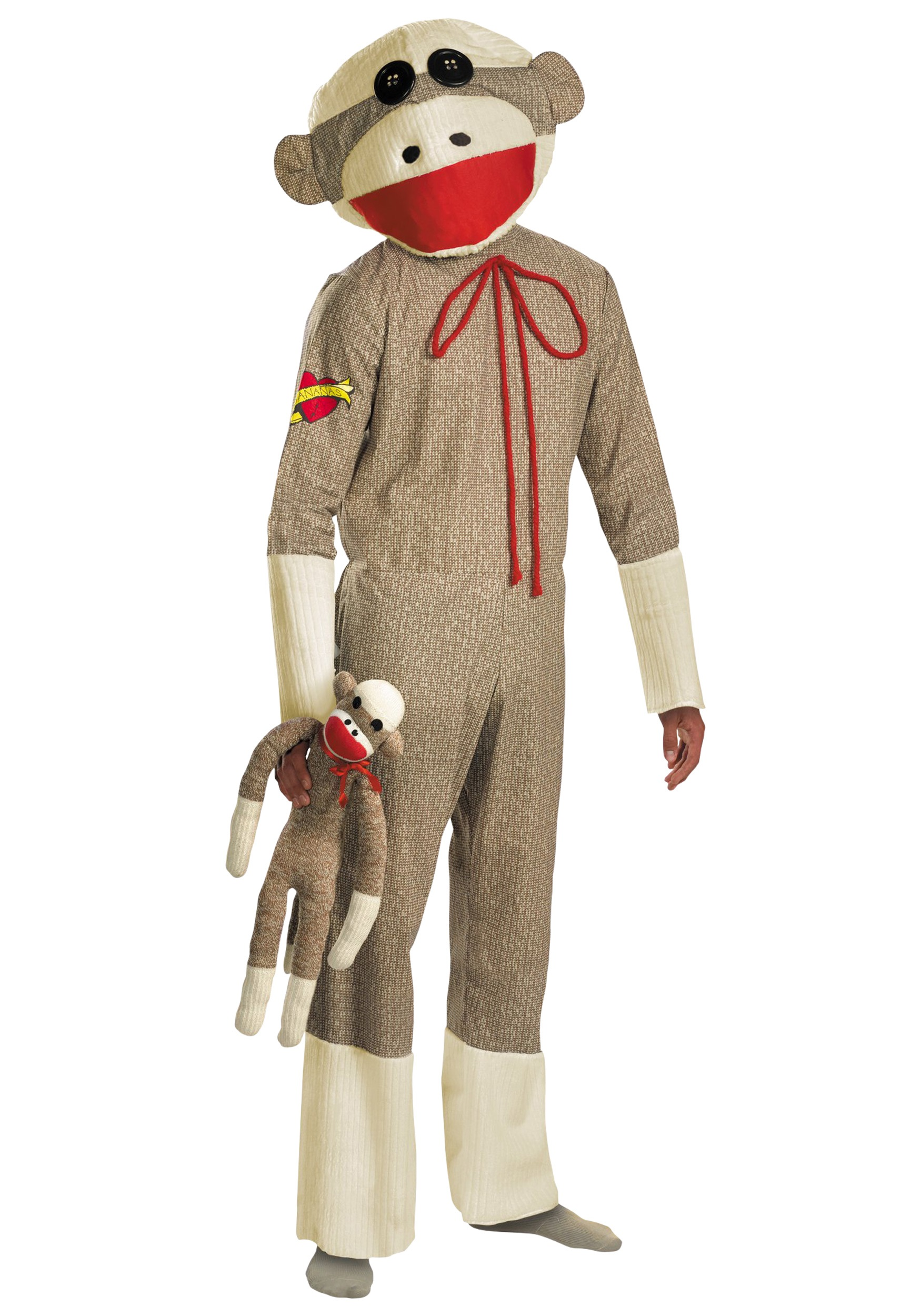 Monkey costumes for halloween halloweencostumes adult sock monkey costume solutioingenieria Choice Image
