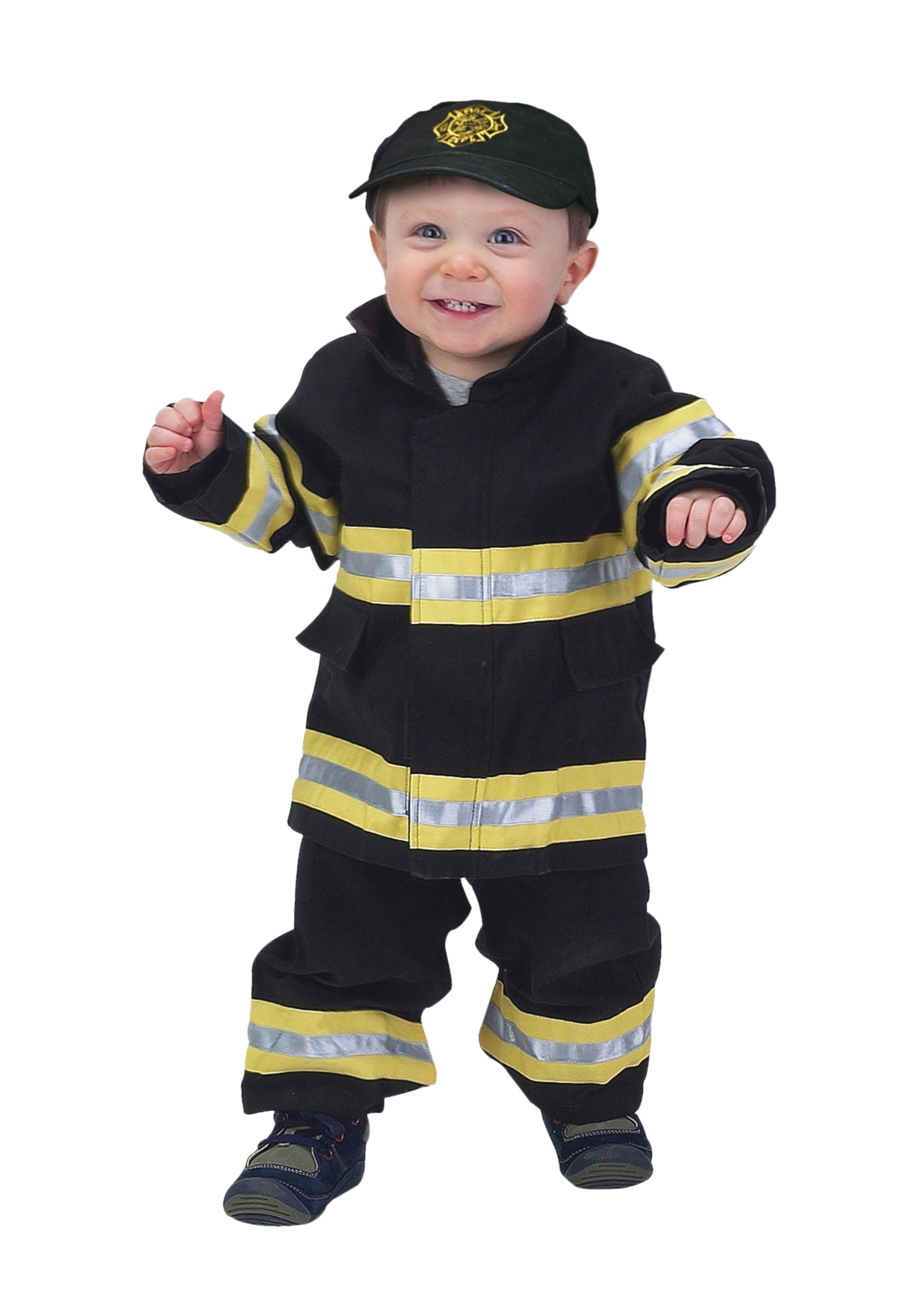 Fireman Child Accessory Kit Toddler Black And Yellow Firefighter Costume