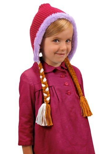 Click Here to buy Frozen Anna Kids Hat With Braids from HalloweenCostumes, CDN Funds