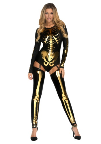 Women's Gold Bad to the Bone Costume By: Forplay for the 2015 Costume season.