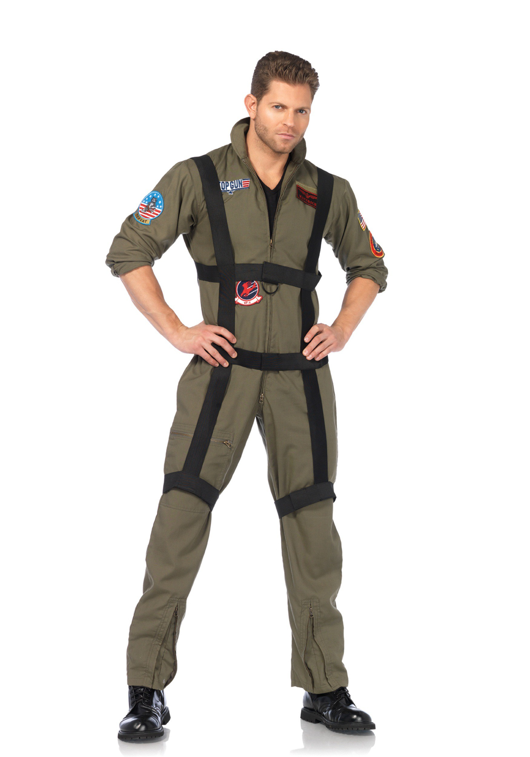 e52c705443fd Men s Top Gun Jumpsuit Costume with Harness