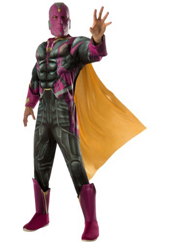 Click Here to buy Adult Deluxe Vision Avengers 2 Costume from HalloweenCostumes, CDN Funds