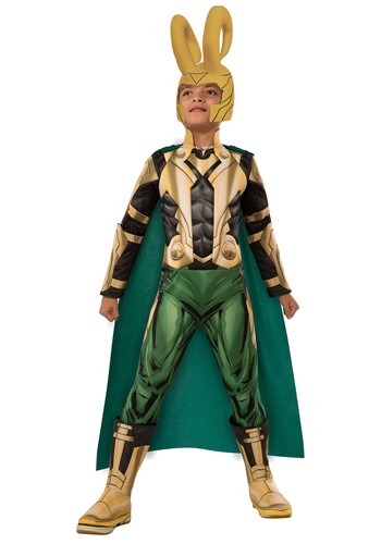 Click Here to buy Kids Deluxe Loki Costume from HalloweenCostumes, USA Funds & Shipping