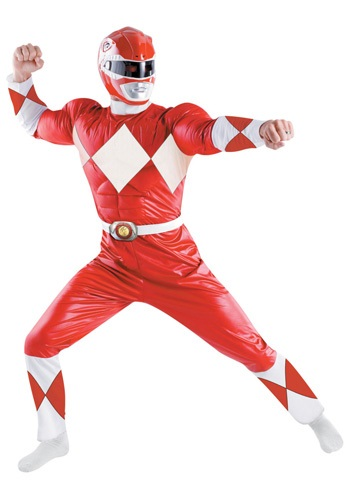 Click Here to buy Adult Deluxe Red Power Ranger Costume from HalloweenCostumes, USA Funds & Shipping