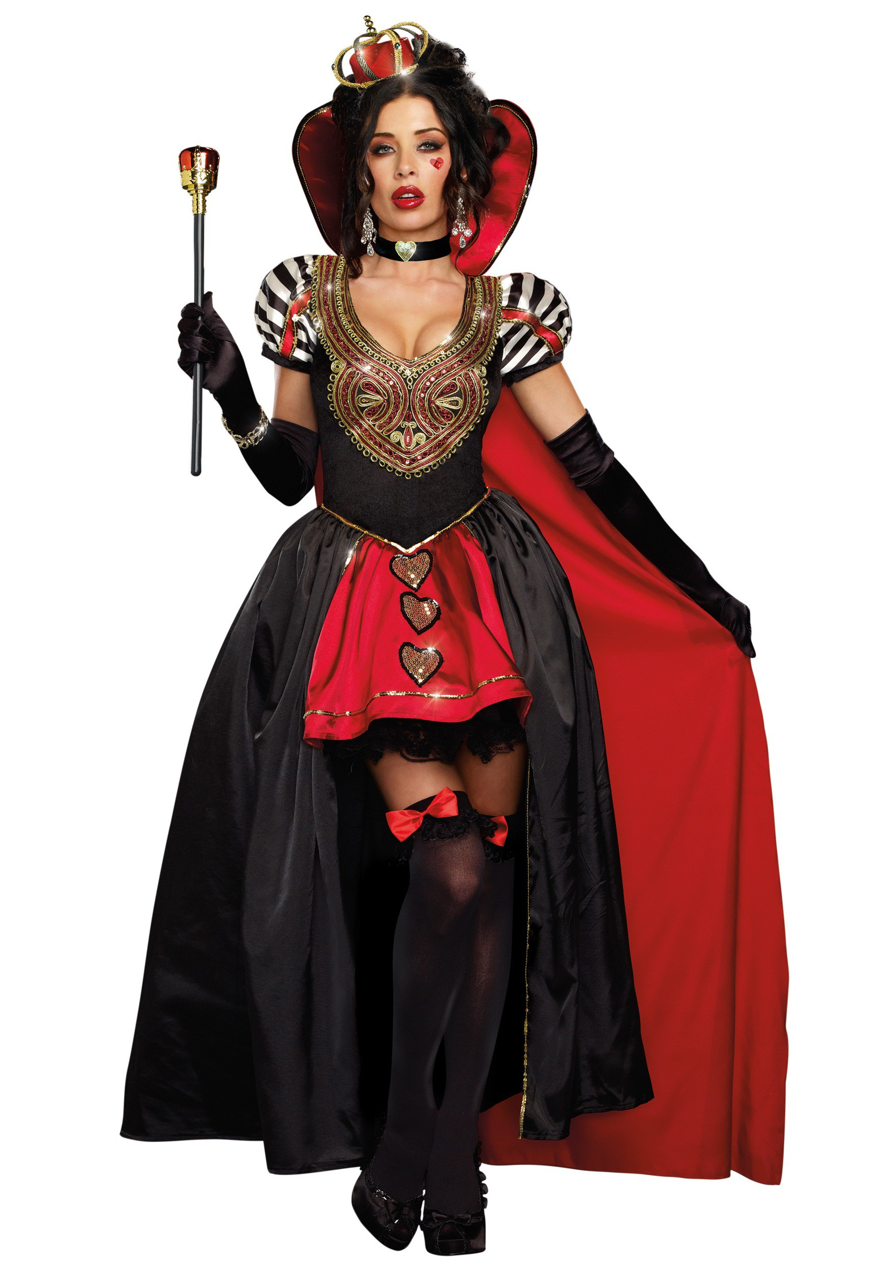 queen of hearts adult costume w cape. Black Bedroom Furniture Sets. Home Design Ideas