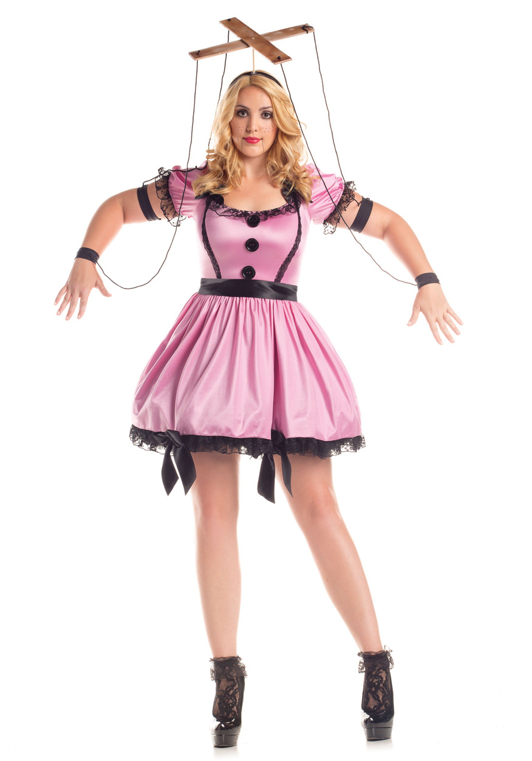 women 39 s plus size pink marionette costume. Black Bedroom Furniture Sets. Home Design Ideas