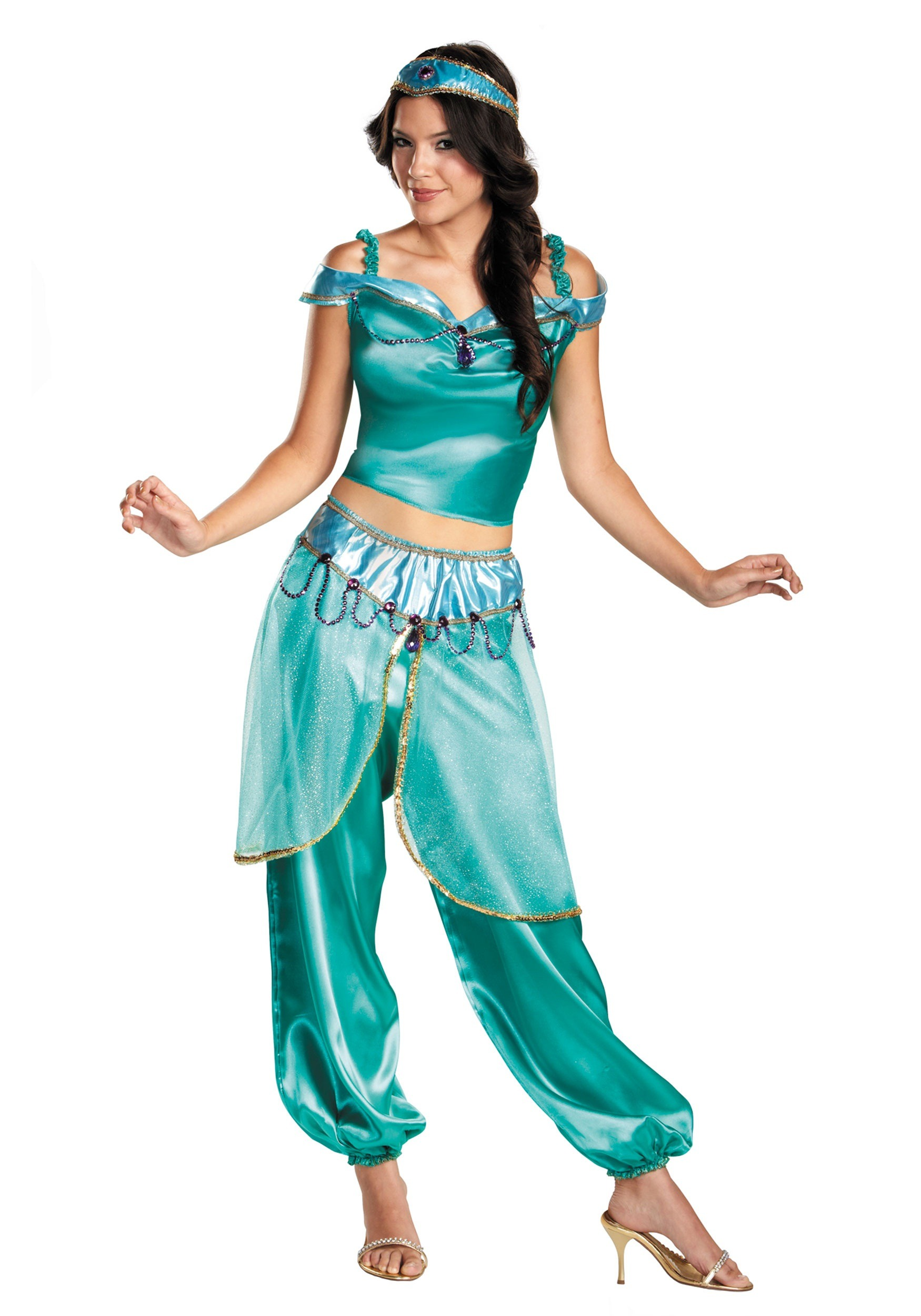 This adult Jasmine costume is a satin-textured polyester two-piece ...