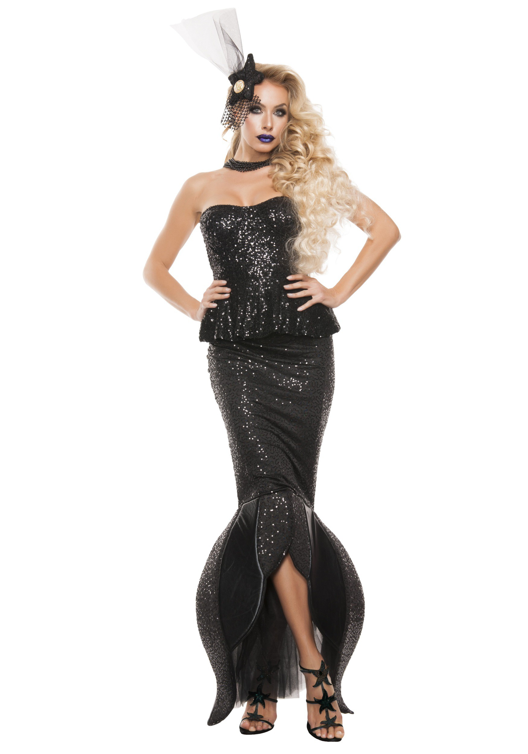 womens black mermaid costume