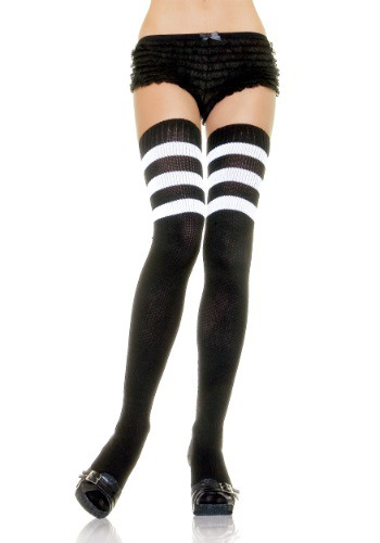 Image of Black Athletic Socks with White Stripes