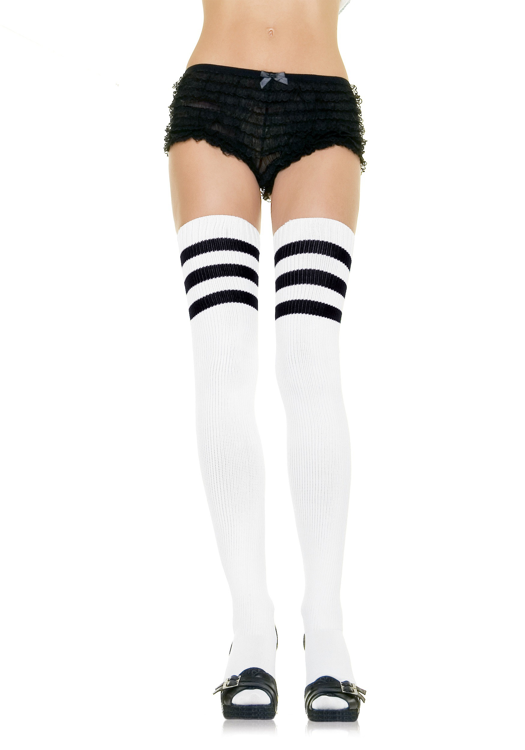 f7f334208a4 Women s White Athletic Socks with Black Stripes